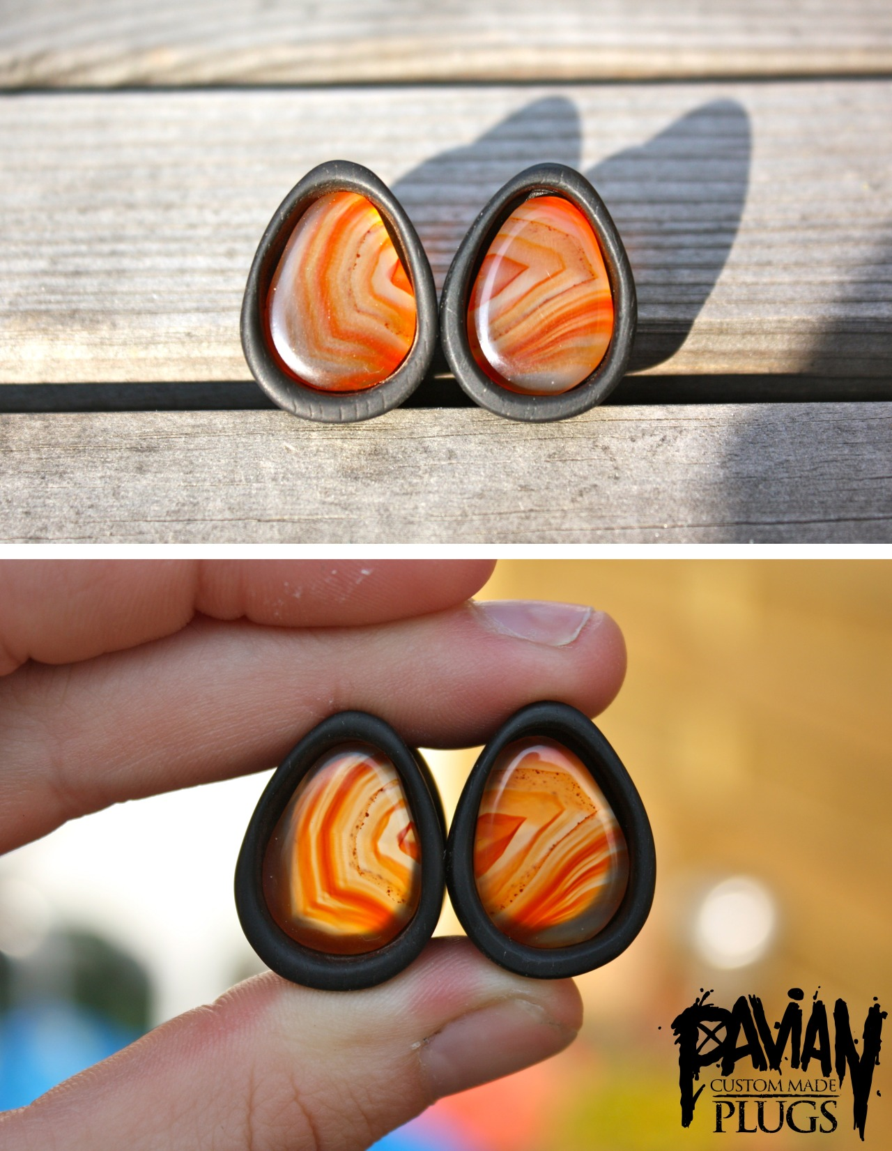 agate in 19mm ebony teardrop, fancy with backlight