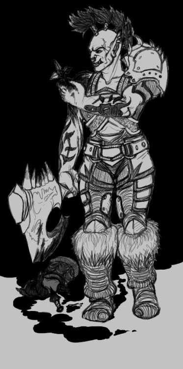 A black and white sketch of Warlord Zaela taking Gorehowl from the Shado-Pan (not canon lore, bu something I like to imagine).