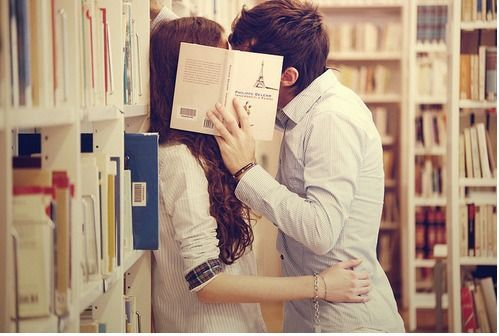 bookshelfporn:  Library Kiss #1…Happy Valentine's Day book lovers :)  Sweet.