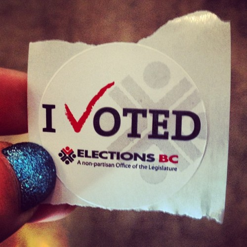 I voted with my sparkly nails #bcelections #bcpoli #advancevoting #bcelections2013  (at West Vancouver Aquatic Centre)