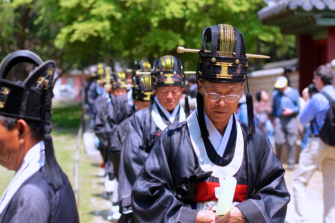 Procession of the Jeonju Yi clan, Jongmyo Daeje. The memorial rite for the kings of the Joseon Dynasty, the Jongmyo Daeje is performed by the Jeonju Yi clan, Korea's former royal family, on the first Saturday of May.