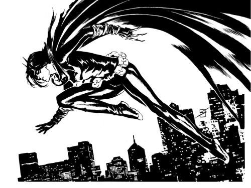 fuckyeahbatgirls:  ART: A black and white illustration of Cassandra as Blackbat. She's flying over Gotham, cape arcing above her. ronsalas:  Cassandra Cain, the Black Bat