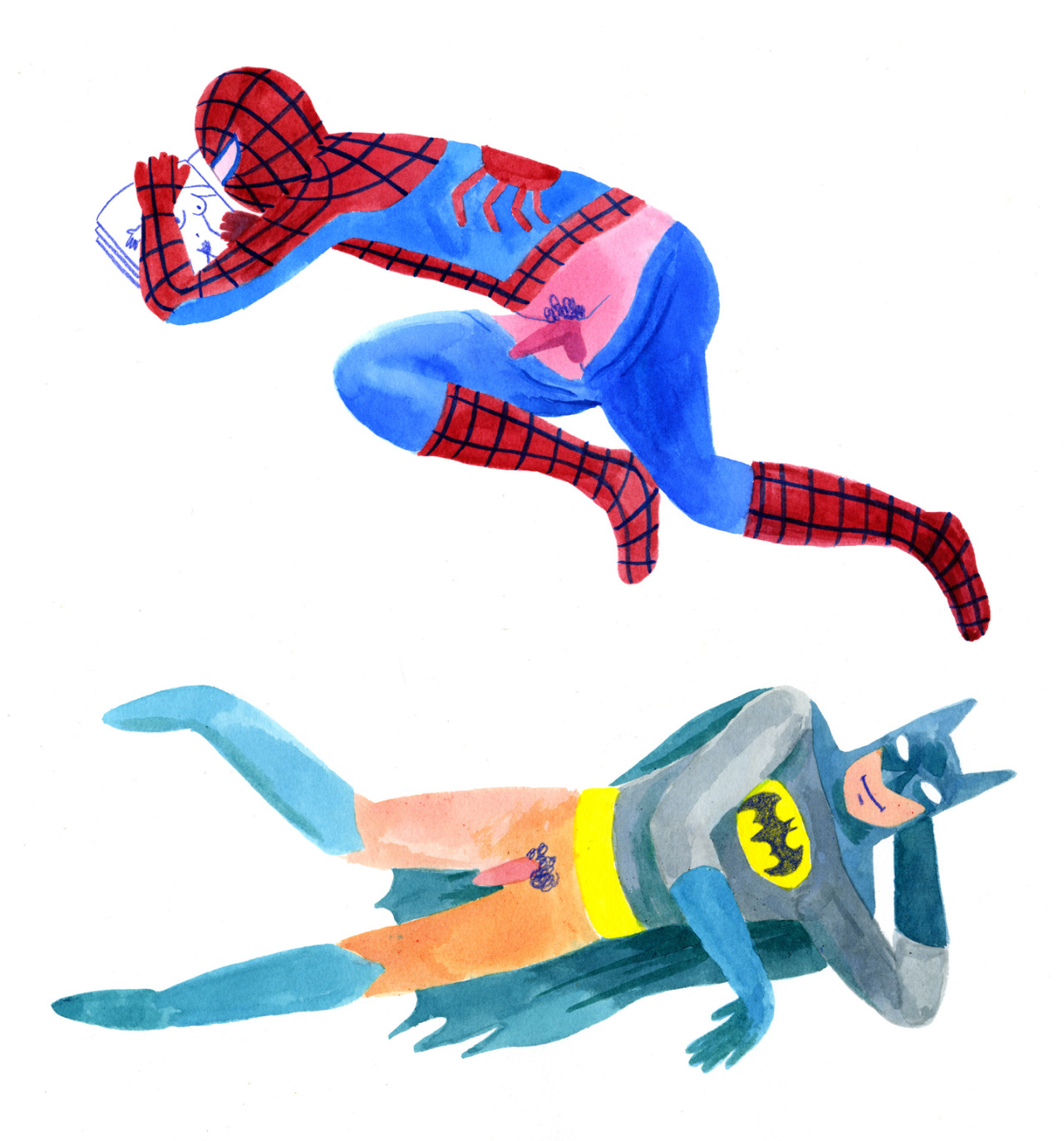 lisahanawalt:  Batman and Spiderman, Lisa Hanawalt
