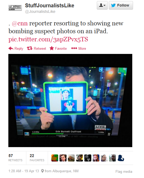 This really happened.  CNN HELD UP AN IPAD TO AN HD CAMERA TO SHOW A PICTURE!
