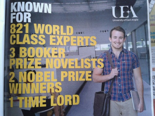 correctemondo:  advert for the university that Matt Smith went to   Haha I love how this a selling point for the school. like study hear and you may be The Doctor one day lol.