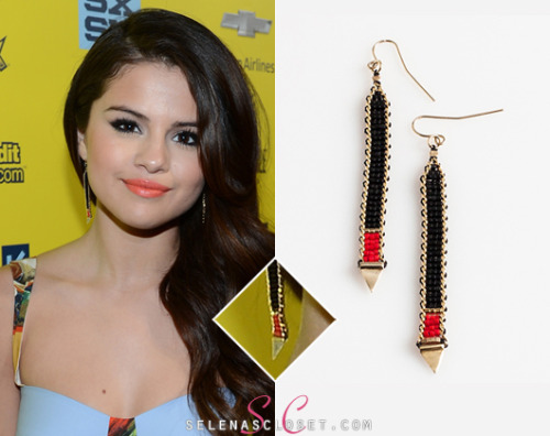 Selena Gomez attended the premiere of Spring Breakers at SXSW donning a pair of funky beaded earrings. She wore the Iwona Ludyga Tribe Long Beaded Earrings, which can be yours courtesy of IwonaLudygaDesigns.com for $158.00. Buy it HERE She wore these earrings with a Dolce & Gabbana SS13 outfit.