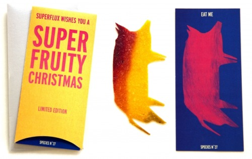 Design studio Superflux has made edible christmas cards using something called fruit leather. Most are modeled after animals of various kinds.  (via Limited Edition Edible Christmas Cards | superflux)
