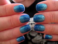 thenailitgood:  nailsvera:  another gradient effect, i used OPI liquid sand 'get your number' and 'tiffany case'  Perfection.