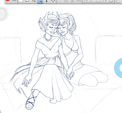 Update on Rose and Kanaya Drawing. Not a lot more done really, I've been at the hospital a lot. Speaking of which, my fiancé (Derek / @posty) is feeling much better! However, we still don't have a diagnosis and we're still not sure what happened. They had said it was encephalitis for a while, and now they say it's not. All they said is that it's some kind of frontal lobe syndrome, and he'll be seeing more doctors tomorrow. Which reminds me, it's past time I went to bed so I can visit him tomorrow.