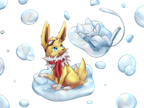 (( For shrike-alvaron. Shiny Mew and Shrike the Jolteon playing on some bubbles~. Sorry for the wait. About 80% of this was colored with a track-pad so you'll have to forgive me for errors or not making a background…; ))