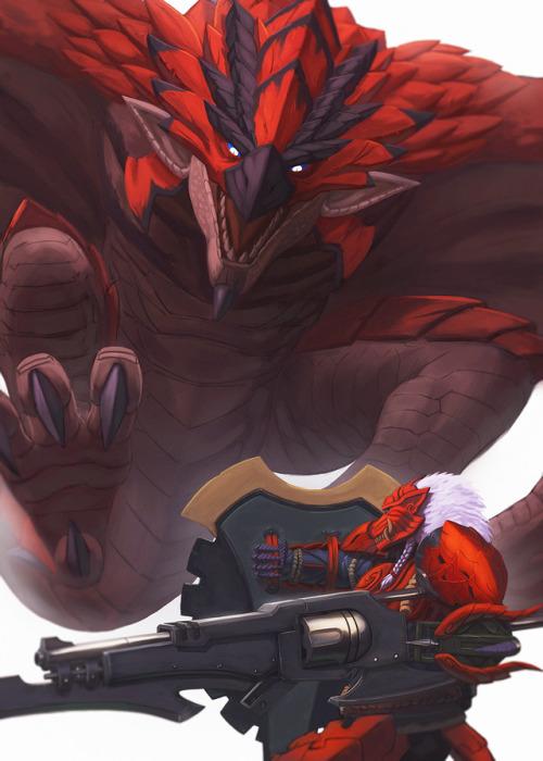 keilinkzone Monster Hunter World Odogaron armor set Rathalos gunlance GUNLAAANCE! \\ o /