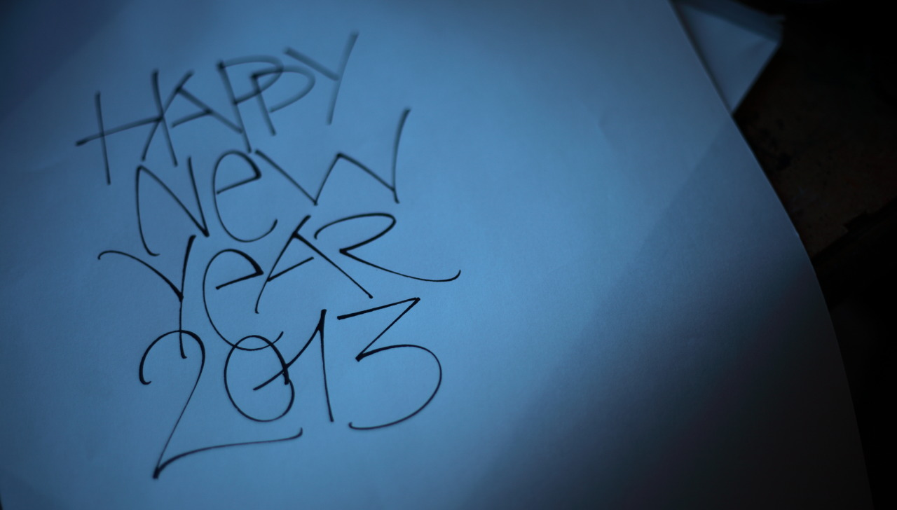 hebrew-calligraphy:  The happy new Year Card by Michel D'anastasio 2013 - http://www.script-sign.com