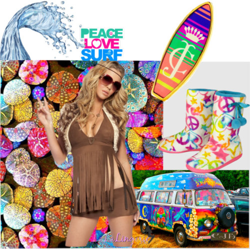 Peace, Love, Surf by enchanting-muse featuring brass jewelryJuicy Couture brass jewelry / Groovy Babe Hippy Costume / Dreamy Peace Star Booties slippers / Surfrider Foundation Surfrider Peace Love Surf Sticker