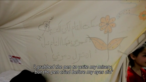 "freeefreesyria:  A Syrian refugee wrote this in his tent. ""I grabbed the pen to write my misery, but the pen cried before my eyes did."""