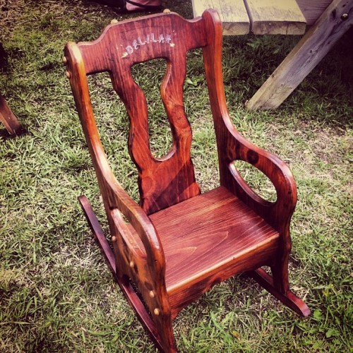 My moms neighbor just had a baby. Her mom had kept this rocking chair from when she was a baby and my moms bf refinished it with the baby's name. :) such a sweet gift. The new mom almost cried!!