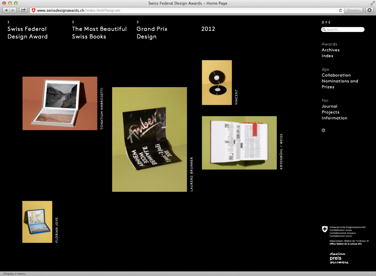 Swiss Design Awards website Design by Jonathan HaresProgramming by Studio Scasascia