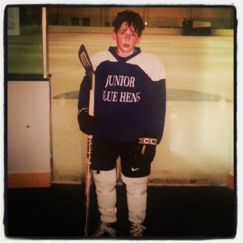 I miss playing hockey—favorite childhood photo.