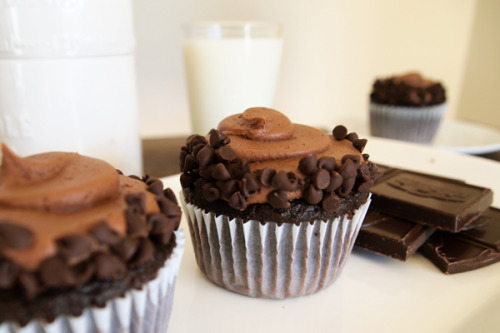 Dark Chocolate Cupcakes with Double Chocolate Butter Cream