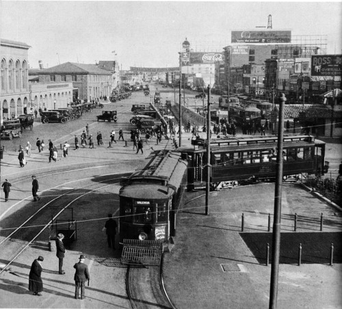 San Francisco Streetcars, circa 1910 'The Ferry Building at the foot of Market Street was the center of San Francisco traction [ie propulsion by electric traction motors] activity throughout almost the entire street-railway era. A two-car Market Street Railway train from the Valencia Street line swings around the loop in the Embarcadero in front of the Ferry Building. The cars were part of the 200-car order received from St Louis in the aftermath of the 1906 fire.' from: The Time of the Trolley; William D Middleton; 1967; Kalmbach Publishing Co.