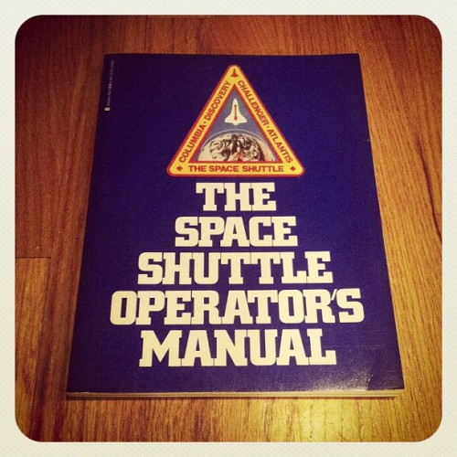 The Space Shuttle Operators Manual (1982) via library book sale. both the Challenger and Columbia were later destroyed in flight. the book contains an incredible wealth of photos, illustrations and in-depth diagrams. will post some another time.