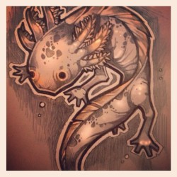 A Lil axolotl tatto design for a friend. #axolotl. #tattoo #sketch. #timshumate