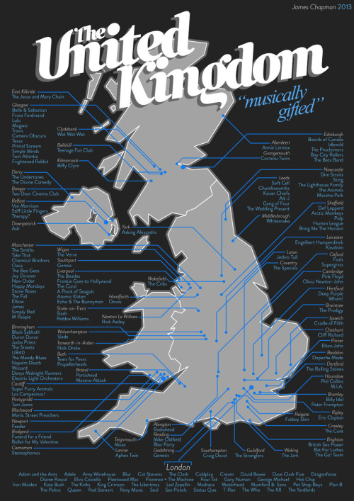 nprfreshair:  An awesome map of music in Great Britain by James Chapman.  via Buzzfeed