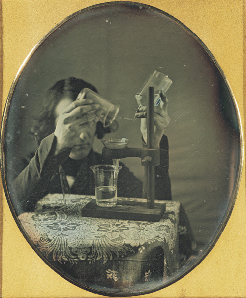 ca. 1843, [Self-portrait daguerreotype  of Robert Cornelius with laboratory instruments], Robert Cornelius via the George Eastman House Collection, Still Image Archive