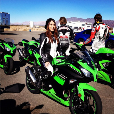 Motorcyclist Magazine contributor Annette Carrion on her Kawasaki Ninja.