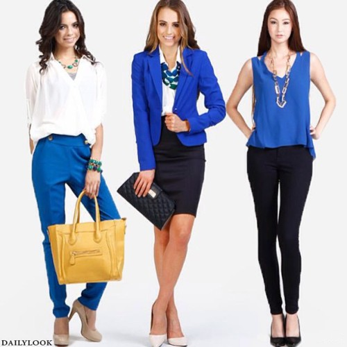 Trend alert: cobalt blue! Which way would you wear it? #dailylook #fashion #style #cobalt #blue #cobaltblue #trendalert #blazer #tank #pants #bag #shoes #girl #model #shop