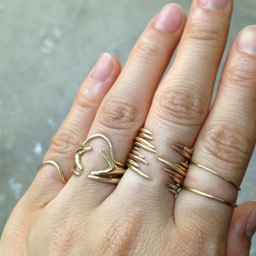 wwake:  Stacked #rose #gold open rings with tiny diamonds set in the points! #wwake