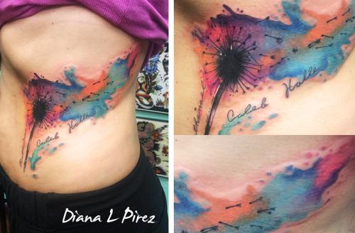 watercolor dandelion I did in Austin Tx. <3 I love this city! #watercolor tattoo#dandelion#tattoos#austin#diana pirez#dandelion tattoo