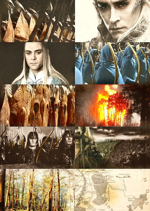Three times Lórien had been assailed from Dol Guldur. Though grievous harm was done to the fair woods on the borders, the assaults were driven back; and when the Shadow passed, Celeborn came forth and led the host of Lórien over Anduin in many boats. They took Dol Guldur, and Galadriel threw down its walls and laid bare its pits, and the forest was cleansed. In the North also there had been war and evil. The realm of Thranduil was invaded,… but in the end Thranduil had the victory. And on the day of the New Year of the Elves, Celeborn and Thranduil met in the midst of the forest; and they renamed Mirkwood Eryn Lasgalen, The Wood of Greenleaves.