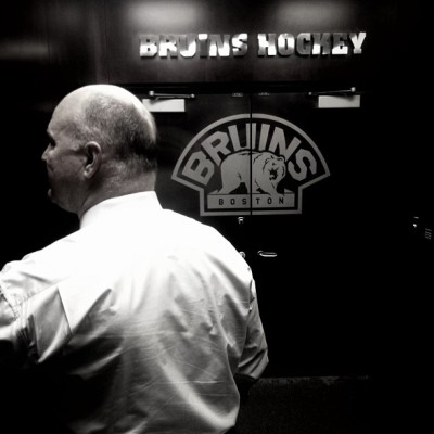 Coach Julien heading into his office inside the B's locker room. #BruinsAreBack