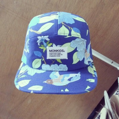 monkids 5panel cap  blue for Blue.  blue bird blue flower.