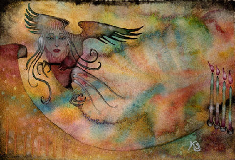 karolfern:  Harpy's Greeting (watercolor) by Karol Fern Sample