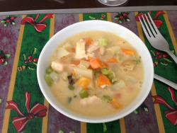 My lunch and my dinner too,  chicken and veggies in a low fat creamy soup!