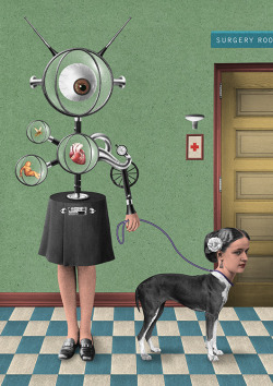 "isupportfairuse:  A Dog's Dinner — Randy Mora, 2012 Digital collage, such as this extraordinary recent piece from Columbian illustrator Randy Mora, adds new twists of legal consideration to arguments for (or against, if you choose to lean that way) fair use. Mixed media collage, traditionally constructed from bits of  imagery snipped from books and magazines, is given a general nod of ""legal approval"" (even independent of fair use), primarily because these pieces are a physical construction — much as a painting or sculpture is a physical construction. The artist is not ""reproducing"" the source imagery, but merely transferring it's place from a printed page to a canvas. In a sense, when making a sale, the artist is reselling a physical object. In digital collage, the artist is reproducing the original image — scanning it into a computer, making modifications, and placing it (potentially) into many new pieces. That one-to-one ration of transferring the original object from bound source to finished canvas is lost. Here, then, is where the transformative aspect of fair use becomes crucially important! While digital collage has at its core the — gasp! — reproduction of existing imagery, it is in how an artist chooses to use those images — hence, building an extensive visual language, not so dissimilar to a painter's palette — that original context is superseded by a new creative vision. Thus, as we've seen before, new meaning is brought to something old."