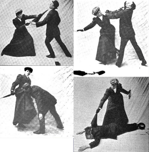 "doubleadrivel:  Miss Sanderson and the womanly art of parasol self defence  Although the woman known as ""Miss Sanderson"" was a prominent fencer and self defence instructor in Edwardian London, regrettably little is known of her life – including her first name. At some point in the early 1900s she married Pierre Vigny, who had begun his own career in London as the chief instructor at the Bartitsu Club. Miss Sanderson, who continued to use what was presumably her maiden name for professional purposes, became Vigny's assistant instructor when he opened his own school in Berner's Street during 1903. By 1908 she was teaching her own unique system of women's self defence, based on Vigny's method but concentrating on the use of the umbrella and parasol.  -Bartitsu Society"