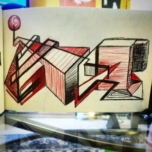 #drawing #doodle #geometricart #linework #ballpoint #hatching #3D #inthemess