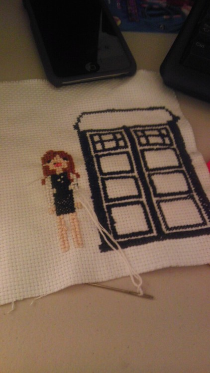 Amy + TARDIS Cross Stitch matchboxtwentynorth:  Made this for a friend… She was so happy