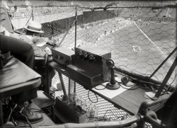Griffith Stadium, 1924. This is what makes a play-by-play booth at the time…Lots of batteries.