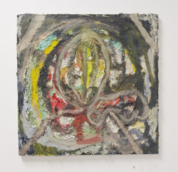 untitled, oil, caulk, spray paint on plaster on canvas, 2014