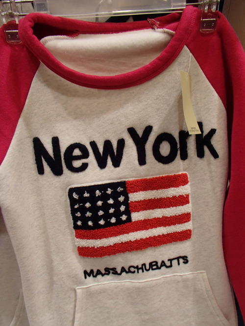 Ah yes, the lovely New York, Massachubatts. My great aunt used to vacation in the summers there.  (Seen in China. Photo by k.steudel)