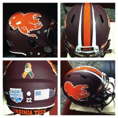 2012 Russell Athletic Bowl: Virginia Tech Sandy Hook memorial helmets [Photo] For the latest and greatest threads to hit the market, visit Gamedayr Uni Blog.