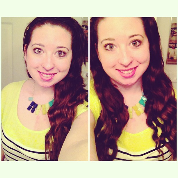 Style trend: Bright neons & statement necklaces! #ootd #wiwt #fashion #style #trends #neon #jewelry #accessories #statementnecklace #wavyhair