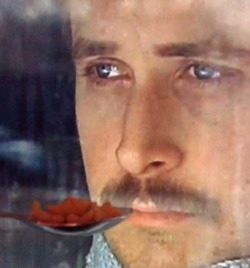 Ryan Gosling won't eat his cereal (!!!)                (via Ryan Gosling Won't Eat His Cereal | Happy Place)