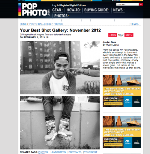 "New York Rollerbladers gets some recognition from Pop Photo in their ""Your Best Shot"" Gallery for November 2012."