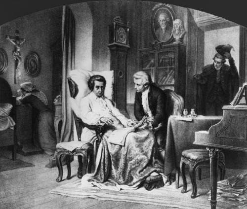 tristesolitude:  Mozart composing his Requiem