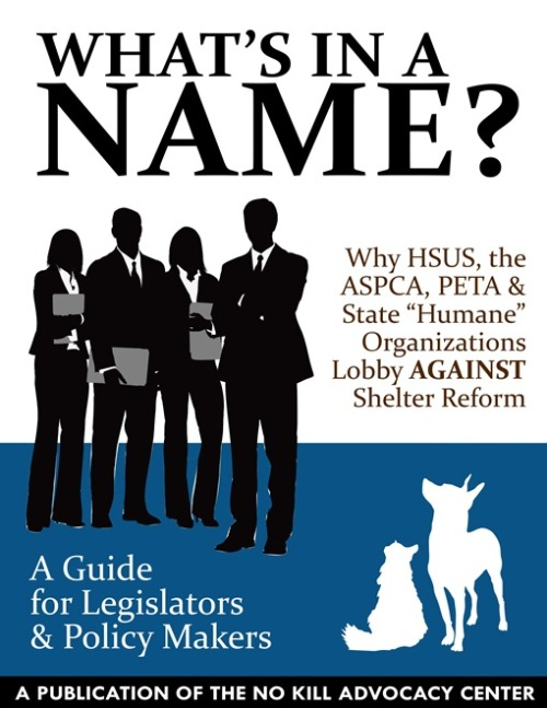 The newest tool from the No Kill Advocacy Center: What's in a Name? As No Kill advocates seek to pass progressive shelter reform legislation in communities and states throughout the country, time and again their fiercest opponents are organizations with names that allow them to masquerade as something they are not. What's in a Name? from the No Kill Advocacy Center will allow legislators and policy makers to understand why groups like HSUS and the ASPCA oppose badly needed shelter reform legislation. To print or download it for FREE, click here. For our shelter reform guides, including How Does Your Community's Shelter Measure Up?, No Kill 101, Dollars & Sense, and more, visit our No Kill Advocate's Toolkit by clicking here.