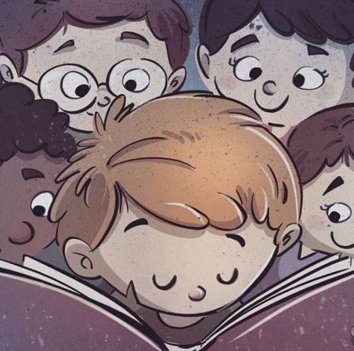 Amigos en la lectura (ilustración de Oriol San Julián)